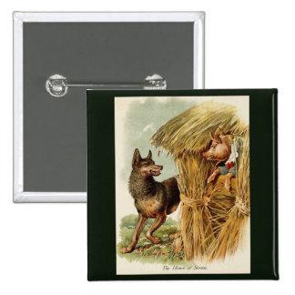 Conte de fées vintage, trois petits porcs et loup badge carré 5 cm