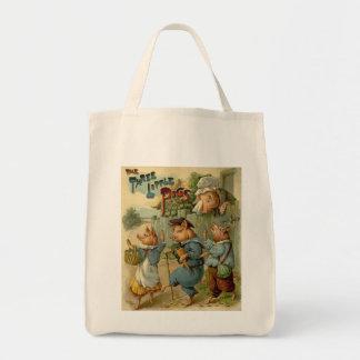 Conte de fées vintage, trois petits porcs sac en toile épicerie