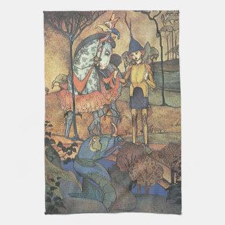 Conte de fées vintage, un chevalier courageux et serviettes éponge