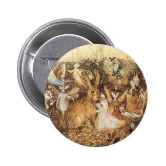 Contes de fées vintages, lapin parmi les fées badge rond 5 cm