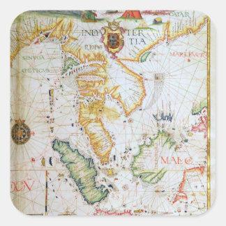 Continent Asie du Sud-Est, détail d'atlas du monde Stickers Carrés