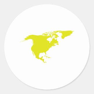 Continent de l Amérique du Nord Adhésifs Ronds