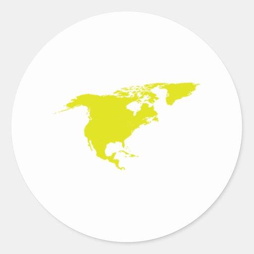 Continent de l'Amérique du Nord Adhésifs Ronds