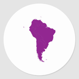 Continent de l'Amérique du Sud Adhésif Rond