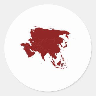 Continent de l'Asie Adhésif Rond