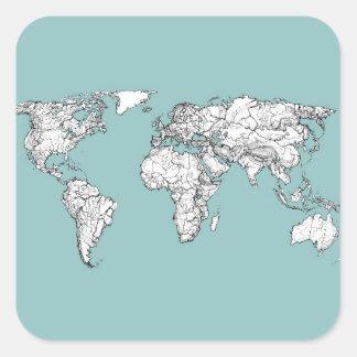 Continents de turquoise sticker carré