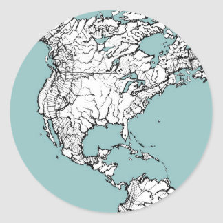 Continents de turquoise sticker rond