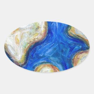 Continents du résumé cinq (carte abstraite du sticker ovale