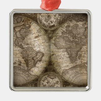 Continents historiques antiques de carte d'atlas ornement carré argenté