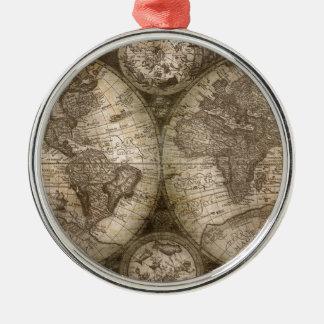Continents historiques antiques de carte d'atlas ornement rond argenté
