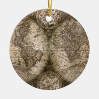 Continents historiques antiques de carte d'atlas ornement rond en céramique