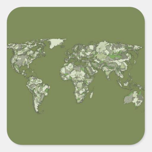 continents kaki gris autocollants carrés
