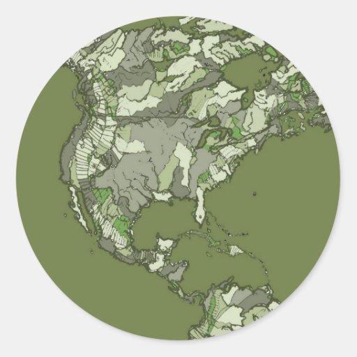 continents kaki gris adhésif rond