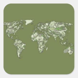 continents kaki gris sticker carré