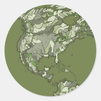 continents kaki gris sticker rond