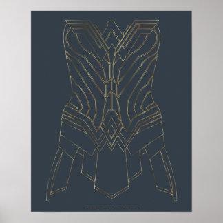 Contour d'armure d'or et de marine de femme de poster