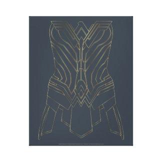 Contour d'armure d'or et de marine de femme de toile