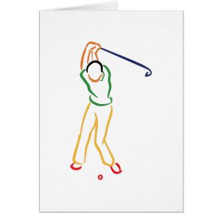 Contour de golfeur carte de vœux