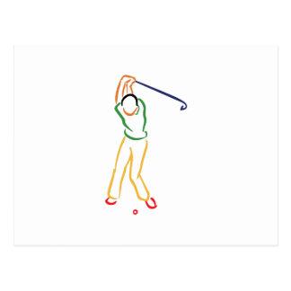 Contour de golfeur cartes postales