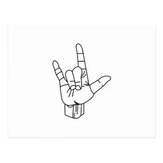 Contour de langue des signes cartes postales