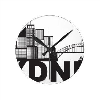 Contour des textes de Sydney Australie Sklyine Horloge Ronde