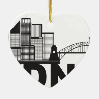Contour des textes de Sydney Australie Sklyine Ornement Cœur En Céramique
