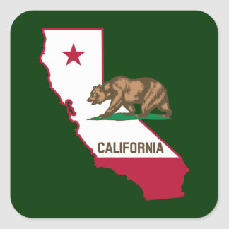 Contour et drapeau de la Californie Sticker Carré