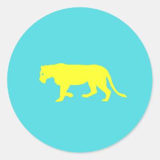 Contour jaune de lion sticker rond
