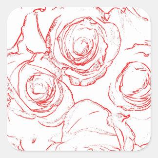 Contours de roses rouges sticker carré