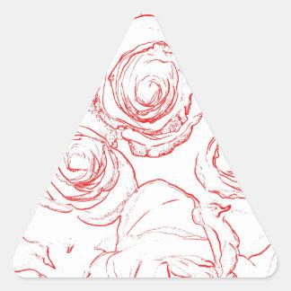 Contours de roses rouges sticker triangulaire