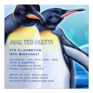 Contrefiche de pingouin invitation de 5,25 x 5,25