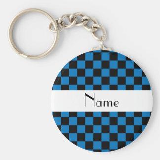 Contrôleurs noirs et bleus nommés personnalisés porte-clé rond