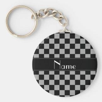 Contrôleurs noirs et gris nommés personnalisés porte-clé rond