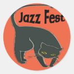 Conversation de Fest de jazz Noir, rouge 2015 Sticker Rond