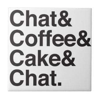conversation et café et gâteau petit carreau carré