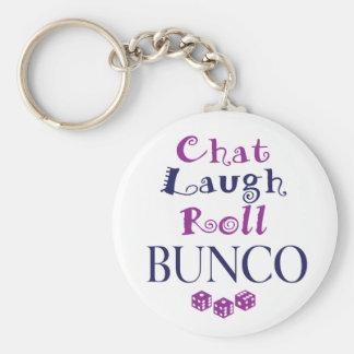 conversation, rire, petit pain - bunco porte-clé rond