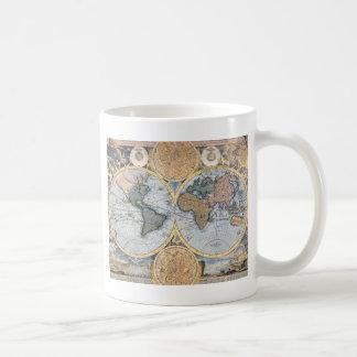 Cool antique de carte du monde tasses à café