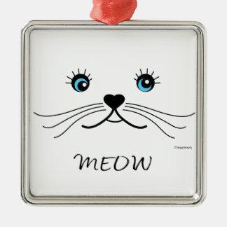 Cool de graphique de visage de MEOW-Chat Ornement Carré Argenté