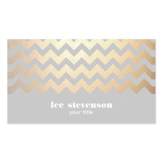 Cool de gris de motif de zigzag de feuille d'or de carte de visite standard