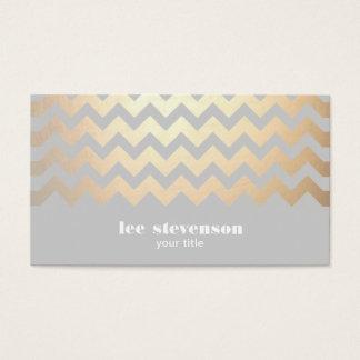 Cool de gris de motif de zigzag de feuille d'or de cartes de visite