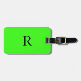 Cool fluorescent vert au néon nommé d'initiales de étiquettes bagages