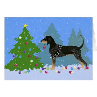Coonhound de Bluetick décorant l'arbre de Noël Carte De Vœux