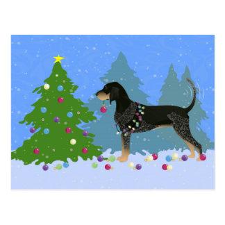 Coonhound de Bluetick décorant l'arbre de Noël Carte Postale