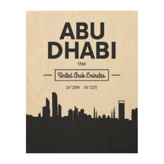 Coordonnées noires et blanches de ville d'Abu Impression Sur Bois