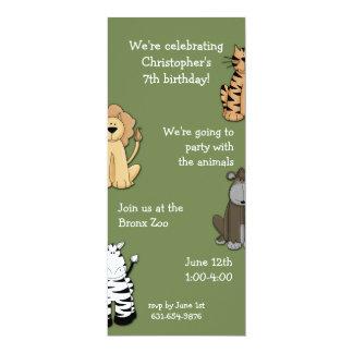 Copains Invitaion de zoo Carton D'invitation 10,16 Cm X 23,49 Cm