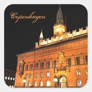 Copenhague, Danemark la nuit Sticker Carré