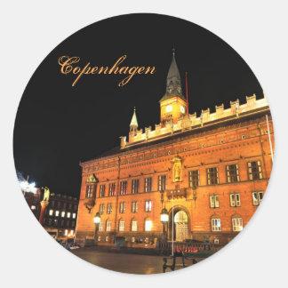 Copenhague, Danemark la nuit Sticker Rond
