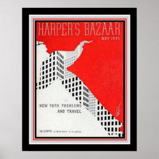 Copie 16x20 du bazar 1935 du harpiste d'art déco