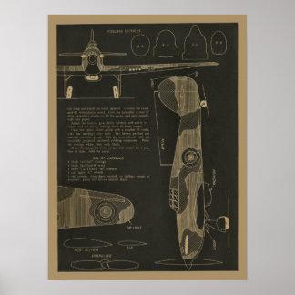 Copie 1938 d'art de conception d'avion d'ouragan poster