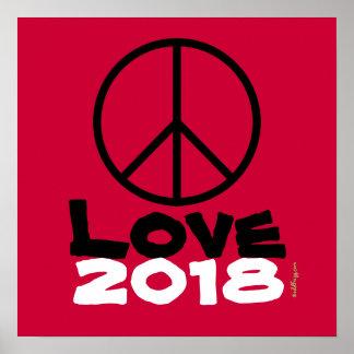 Copie 2018 rouge d'art d'amour de paix poster